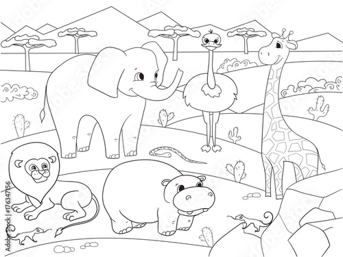 Plexiglas Zoo Animals of Africa savanna coloring raster for adults