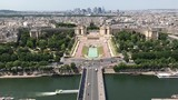Aerial view of Paris Skyline and Seine river from Eiffel Tower in Paris, France - 176349529
