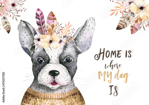 Watercolor closeup portrait of cute dog. Isolated on white background. . Hand drawn sweet home pet. Greeting card animal nursary design decoration - 176357108