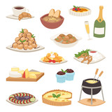 French cuisine traditional food delicious meal healthy dinner lunch continental Frenchman gourmet plate dish vector illustration. - 176357986