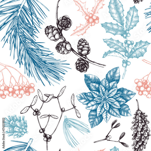 Materiał do szycia Vector background with hand drawn winter trees sketch. Seamless pattern with traditional christmas plants and flowers. Vintage holiday decor.
