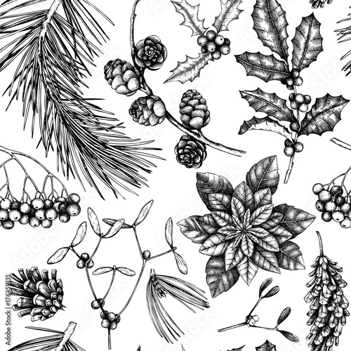 Cotton fabric Vector background with hand drawn winter trees sketch. Seamless pattern with traditional christmas plants and flowers. Vintage holiday decor.