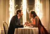 Sweet couple having a romantic dinner - 176359710