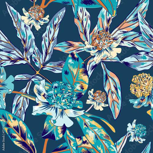Blue Vintage Vector Pattern - 176360757