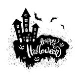 Happy Halloween template for banner or poster.  Vector illustration - 176361575