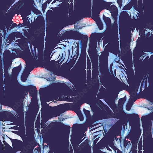 seamless pattern with tropical florals and flamingo