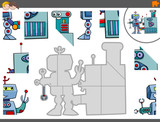jigsaw puzzle game with robot characters - 176362350