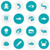 Set Of 16 Food Icons Set.Collection Of Crustaceans, Tunny, Lobster And Other Elements. - 176363302