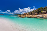 Rocks on Whitehaven Beach with white sand in the Whitsunday Islands, Queensland, Australia - 176363552
