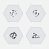Set Of 4 Atmosphere Outline Icons Set.Collection Of Renewable Energy, Water, Solar And Other Elements. - 176363998