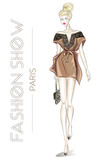 Fashion show in Paris advertising card with young beautiful sexy woman sketch style vector illustration