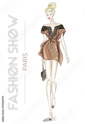 Poster Fashion show in Paris advertising card with young beautiful sexy woman sketch style vector illustration