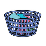 basket object with dirty clothes inside - 176365352