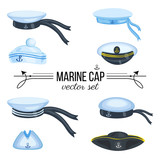 Marine caps, sailor hat, peaked cap with cockade, nautical badge with anchor, panama with bell, cocked hat isolated on white background, cartoon vector illustration cloth design, sea symbol accessory - 176366721
