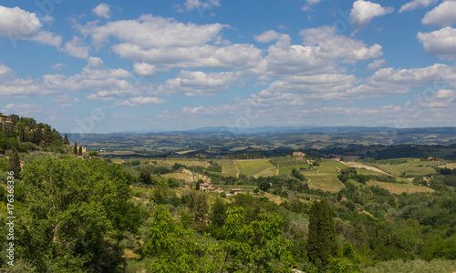 Spoed canvasdoek 2cm dik Toscane Panoramablick von San Gimignano Toskana Italien
