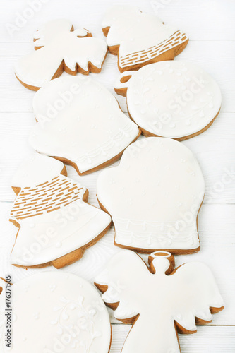 Dcorated sugar glazed Christmas cookies Poster