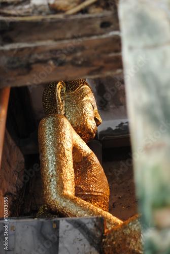 Aluminium Boeddha Golden Buddha Side