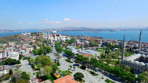Foto op Plexiglas Kiev Aerial View of Istanbul, Hagia Sophia and Blue Mosque