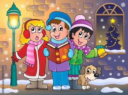 Deurstickers Voor kinderen Christmas carol singers theme 5
