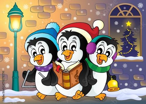Deurstickers Voor kinderen Christmas penguins theme image 5
