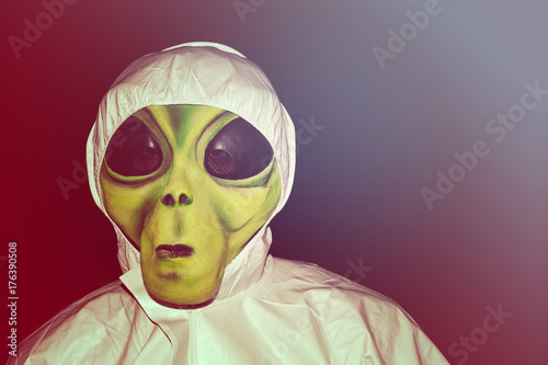 Foto op Canvas UFO alien mask, scary halloween costume
