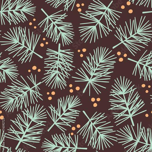 Fir tree branch seamless pattern, winter background - 176392723