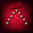 Merry Christmas tree make from golden balls