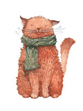 Cheerful cat wearing a warm scarf. An illustration painted in watercolor.