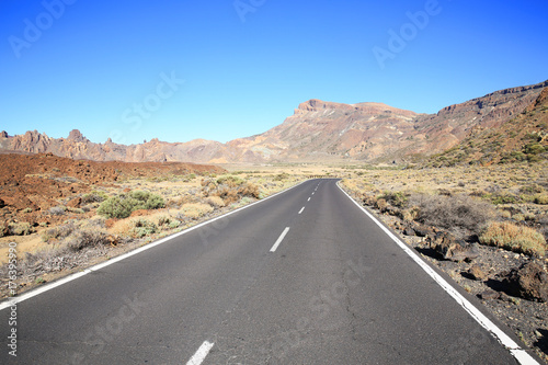 Deurstickers Canarische Eilanden Rural road in the El Teide National Park on Tenerife Island, Canary Islands, Spain