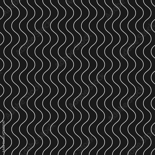 Cotton fabric Vertical thin wavy lines vector seamless pattern. Dark geometric texture