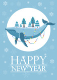Upside down huge fish lying whale with trees decorated with garland on New Year vector greeting card.
