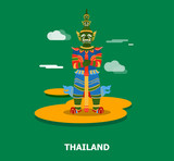 Colorful giant statue in Thailand illustration design.vector - 176400934