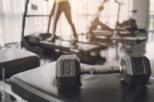 Close up of dumbbell exercise weights at fitness gym