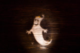 Halloween background with shadow of ghost on wooden background. Silhouettes of ghost for Halloween. Shadow - 176403308