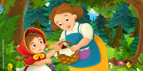 Papiers peints Vert Cartoon background of a woman and a child in the forest - illustration for children