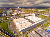 Aerial view to industrial zone and technology park on Karlov suburb of Pilsen city in Czech Republic, Europe. European industry from above. - 176408307