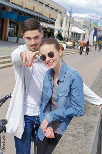 Young couple on urban street