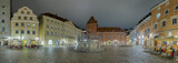 Regensburg Panorama Haidplatz beleuchtet