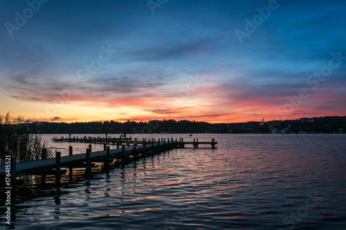 Foto op Canvas Zee zonsondergang Sonnenuntergang am Starnberger See