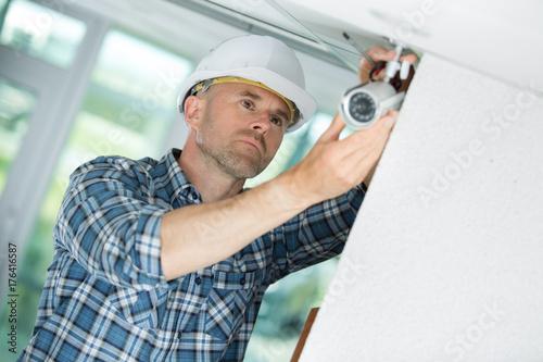 professional cctv technician working