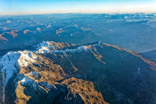 Fotobehang Blauwe jeans Aerial view French Alps