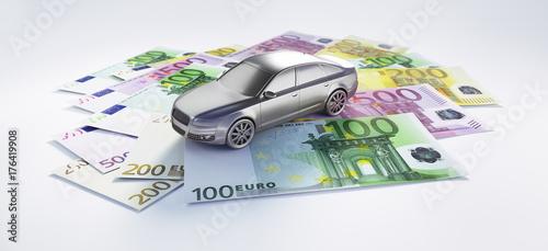 Auto in Silber auf Geldscheinen - Finanzierung