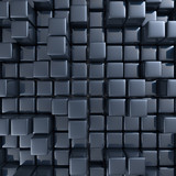 Abstract background of cubes in black toned. 3d rendering - 176422387