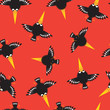 Funny little crow on an orange background. Seamless pattern / - 176423957