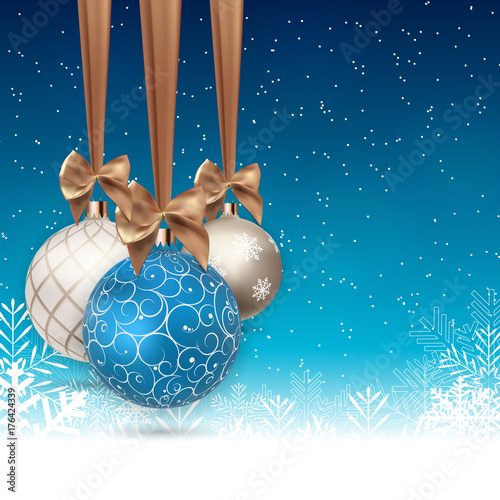 In de dag Bol Happy New Year and Merry Christmas Winter Background with Ball Vector Illustration