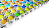 Colurful paint buckets on white background - 3D Rendering - 176425504