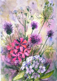 Watercolor painting of floral composition