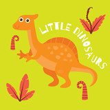 Cute and funny dinosaur greeting card poster design for children. Cute dinosaur t-shirt design for kids.