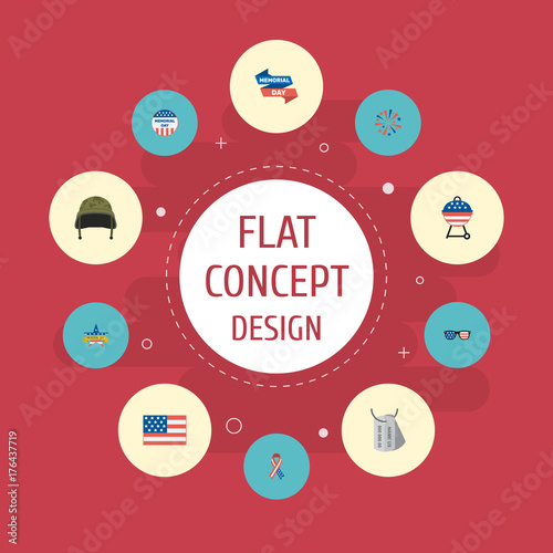 Flat Icons Identity, Firecracker, American Banner And Other Vector Elements. Set Of Day Flat Icons Symbols Also Includes Tag, Headgear, Banner Objects.