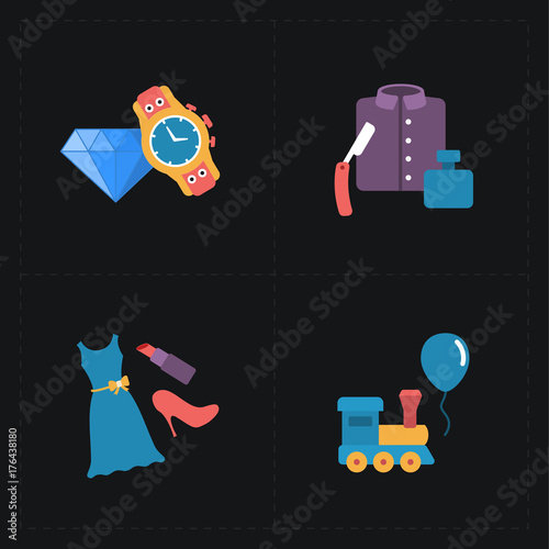 Gift flat colorful shop icons
